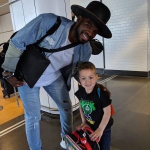P.K. Subban with a very happy passenger in the Montreal Airport (CYUL) PK Subban signed his Passenger Flight Log Book.